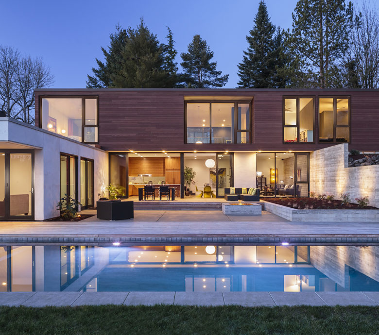 Modern home exterior taken at twilight